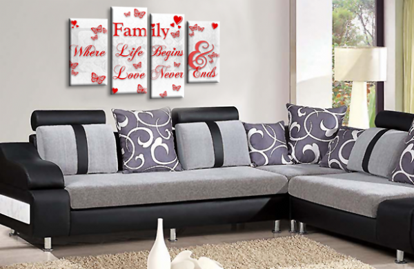 Family Quote Canvas Wall Art Picture Home Print White Red